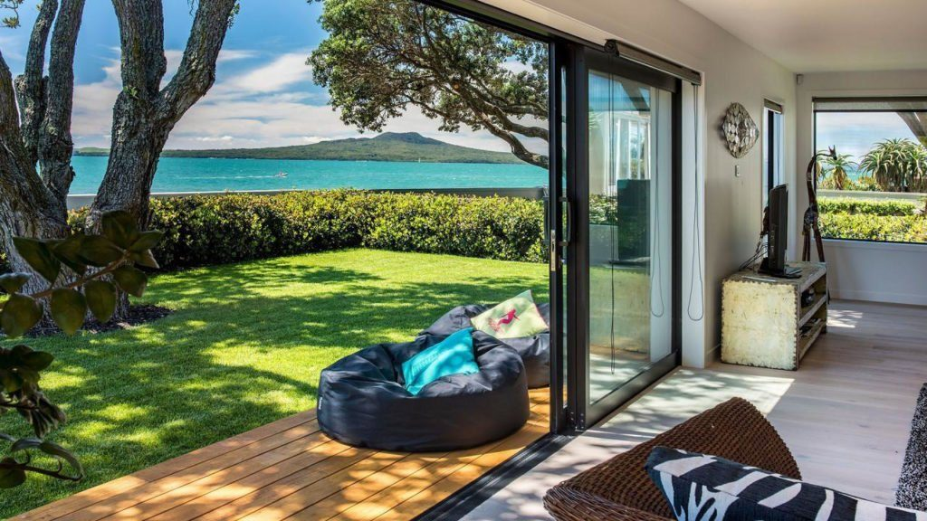 View of large sliding doors looking out to sea