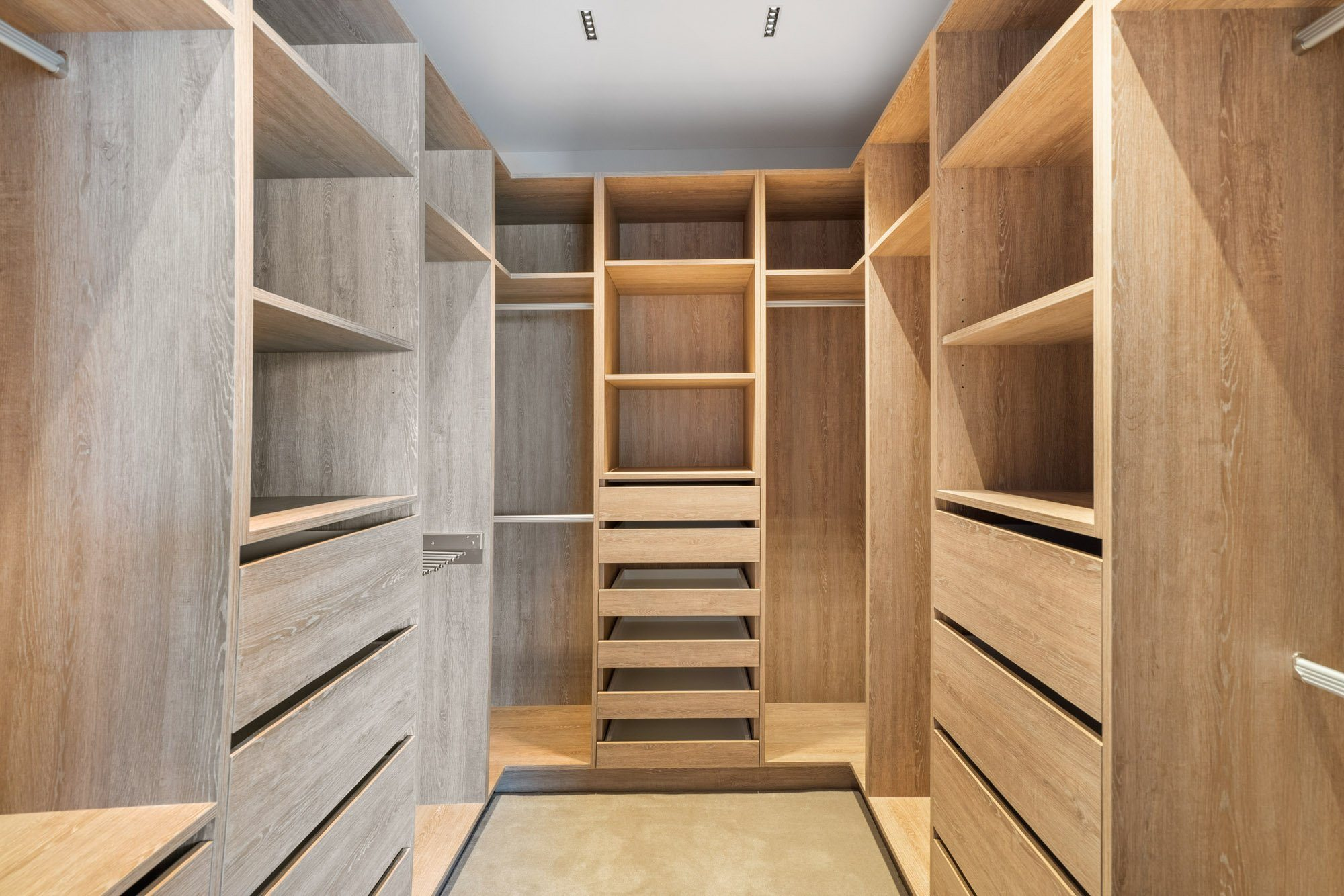 Walk in wardrobe made from pine