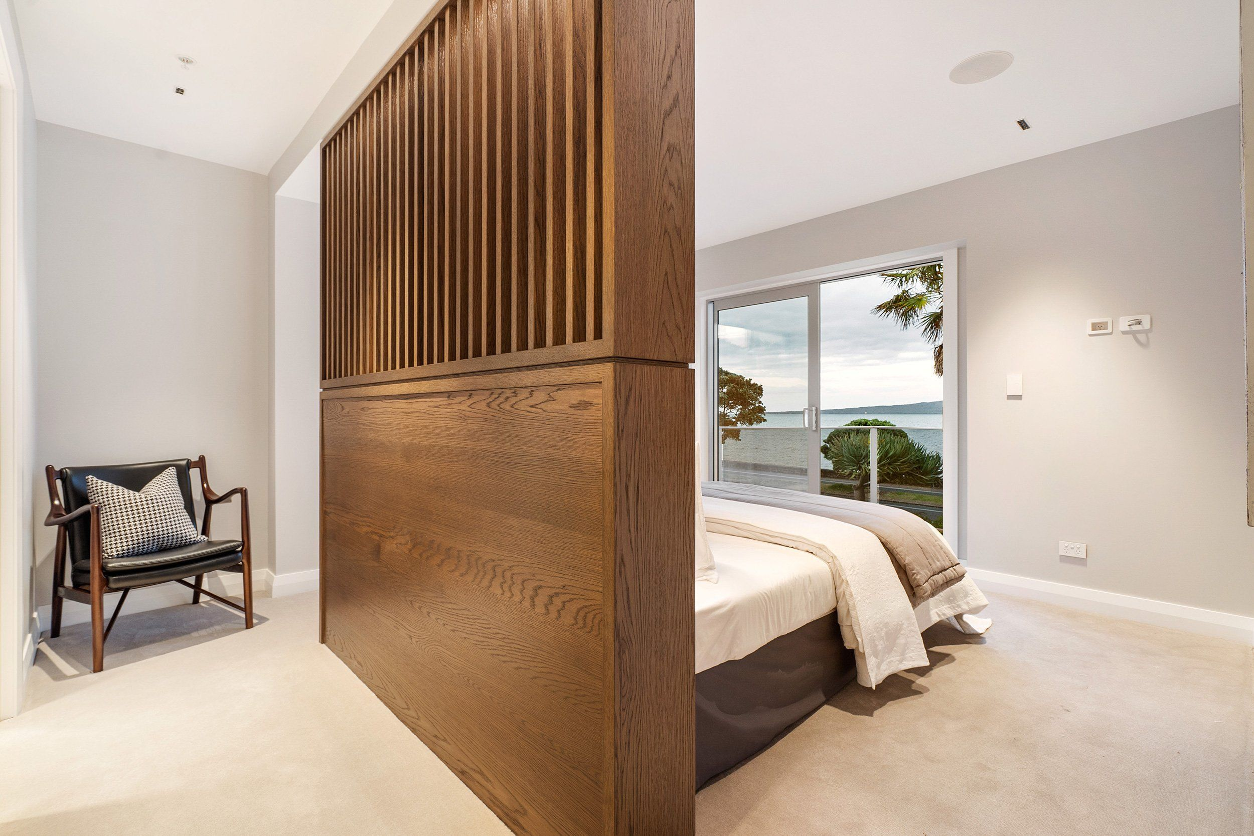Wooden headboard and panelling